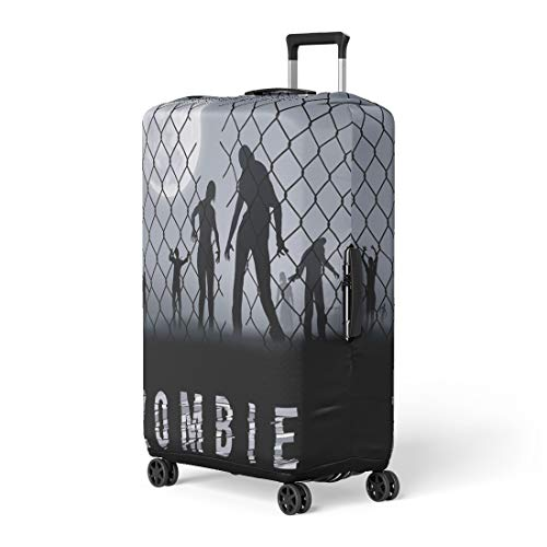 Pinbeam Luggage Cover Arrest Zombie Walking at Night Silhouettes for Halloween Travel Suitcase Cover Protector Baggage Case Fits 22-24 inches