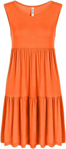 - Casual Tiered T Shirt Dresses for Women Reg and Plus Size Summer Sundress - USA Orange Sleeveless X-Large, Orange Sleeveless, X-Large