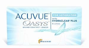Acuvue Oasys for Astigmatism Lentes de Contacto Tóricas Quincenales, R 8.6, D 14.5, -3.25 Dioptrías, Cilindro -0.75, Eje 160 - 6 Lentillas