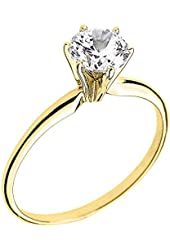 Amazon.com: Solid 14k Yellow Gold Round Solitaire CZ Cubic