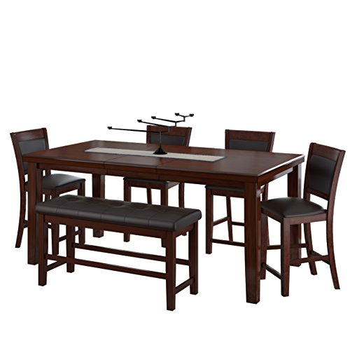 CorLiving DWG-880-Z1 6 Piece Counter Height Extendable Dining Set - Warm Brown Wood and Chocolate Leather Bonded Chairs and Bench