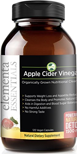 Elementa Essentials Organic Apple Cider Vinegar Capsules | Extra Strength 1500mg 120 Capsules| Natural Detox and Digestive Support | Appetite Suppressant | Reduce Sugar Cravings, Healthy Blood Sugar | (Dosage Of Apple Cider Vinegar To Lower Cholesterol)