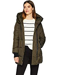 Women's Asymmetrical Hem Coat with Faux Leather Contrast