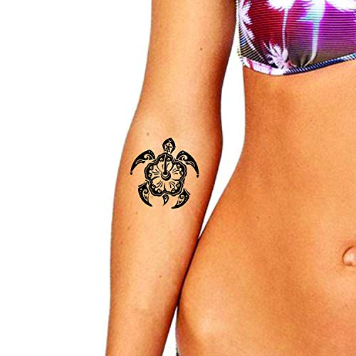 Hibiscus Turtle Temporary Tattoos (3-Pack) | Skin Safe | MADE IN THE USA| Removable -
