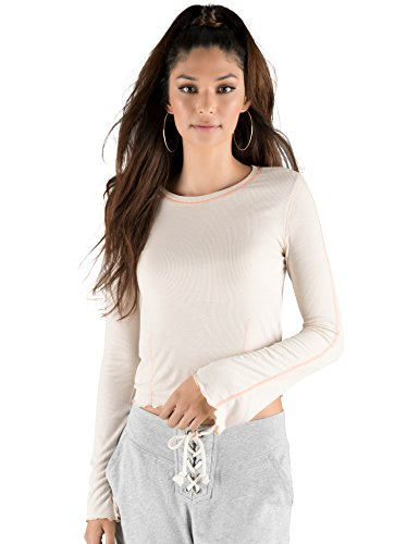 Rebel Canyon Young Women's Bell Sleeve Ribbed Stitched Top Small Off (Rebels Ribbed Sweatshirt)