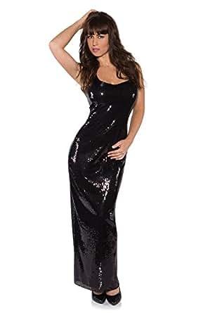 Underwraps Women's Sequin Dress Long, Black, X-Small