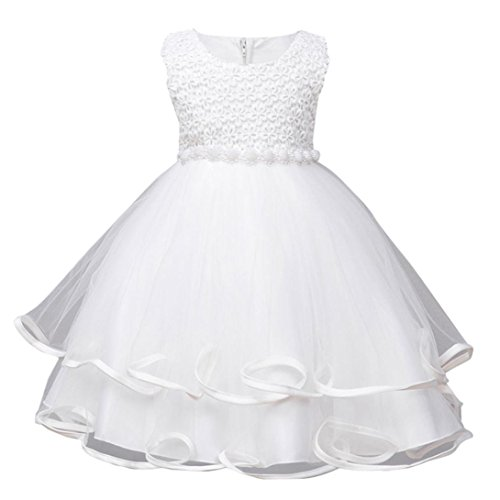 Digood Toddler Baby Kids Girls Flowers Princess Christening Baptism Gown Party Wedding Dress (White, 2-3 Years old) ()