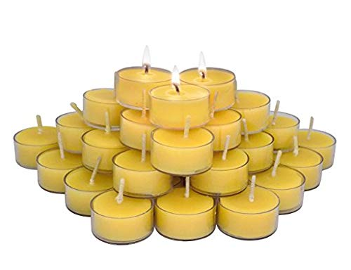 (ELITE SELECTION 36 Count 100% Pure Refined Beeswax Tea Light Candles, with Wick, Smokeless Burning)