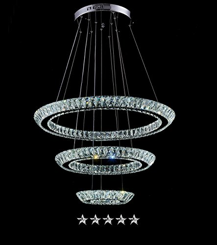 Triple Tiered Halo Ring Crystal Chandelier