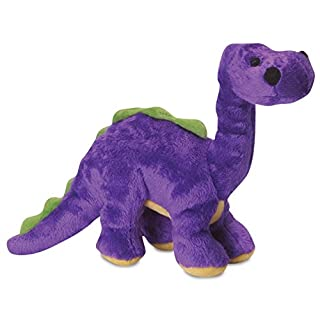 goDog Dinos Bruto With Chew Guard Technology Tough Plush Dog Toy, Purple, Small