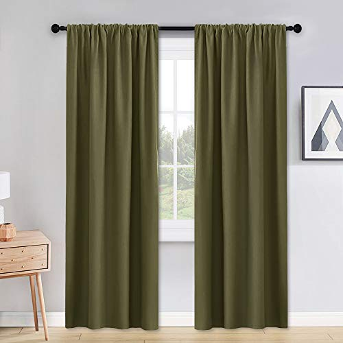PONY DANCE Thermal Insulated Curtains - W 42 x L 90 inches Olive Green Blackout Curtains Light Block Privacy Protect Long Draperies for Bedroom Energy Efficient, Set of 2 ()