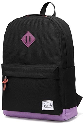 Backpack for Teen Girls, Vaschy Unisex Classic Water Resistant School Backpack Fits 15Inch Laptop (Black Purple)