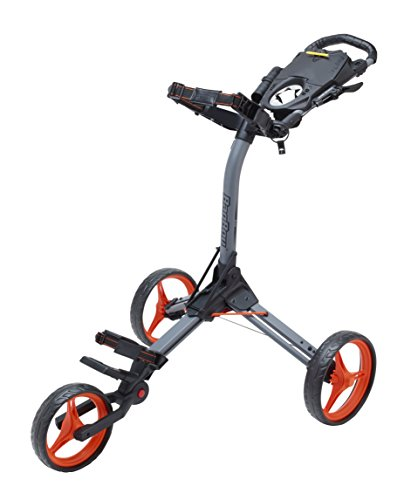 Bag Boy Folding Golf Cart - Bag Boy Compact 3 Push Cart, Battleship Gray/Orange
