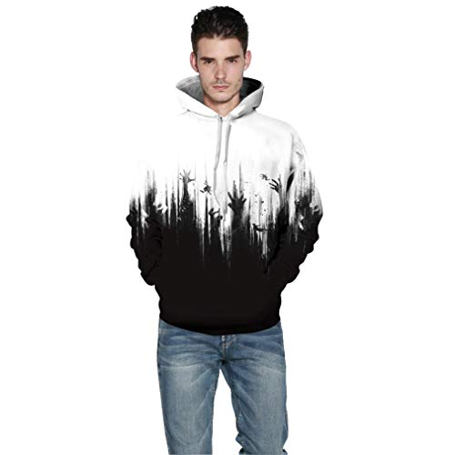 iOPQO Halloween Sweater for Man, Ghost 3D Print Long Sleeve Sweat Pullover Blouse