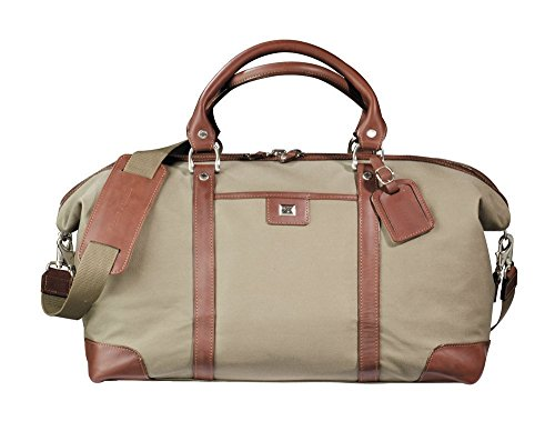 Cutter & Buck Weekender Leather and Canvas Duffel Bag Luggage Bag Chestnut by Cutter & Buck