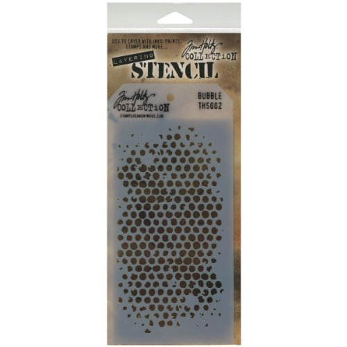 (Stampers Anonymous THS-002 Tim Holtz Layered Stencil, 4.125 by 8.5-Inch, Bubble)