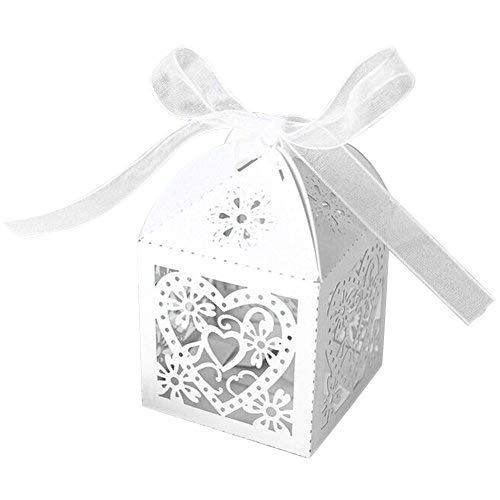 PONATIA 50 PCS 2.3 Inches Love Heart Laser Cut Candy Gift Boxes With Ribbon Wedding Party Favor (White)