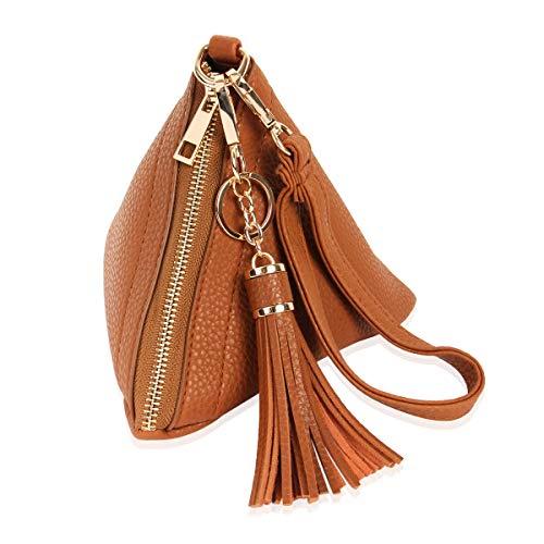 Triangle Vegan Leather Wristlet Clutch Purse Handbag Pyramid Evening Cocktail Pouch Wallet Detachable Strap Tassel Charm