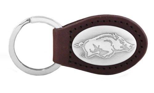 NCAA Arkansas Razorbacks Zep-Pro  Leather Concho Key Fob, Brown