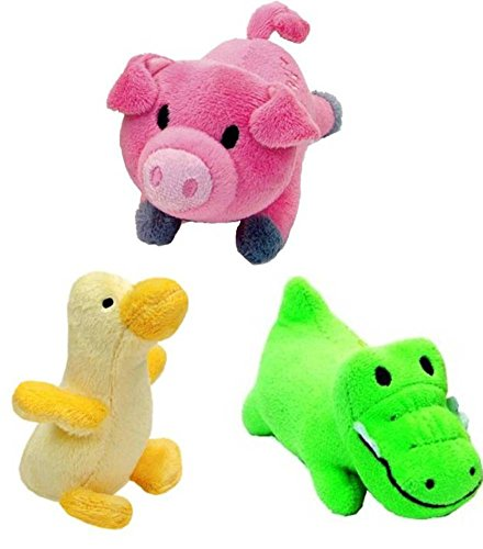 Li'l Pals Interactive Plush Small Size Squeaker Toy 3 Shape Variety Bundle: (1) Pink Pig, (1) Green Gator, and (1) Yellow Duck Coastal Lil Pals Toy
