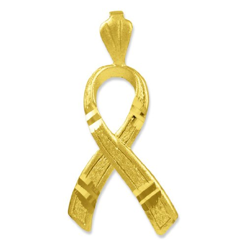 14k Gold Cancer Charm - American Heroes 14k Gold Childhood Cancer Awareness Ribbon Charm 3D Pendant