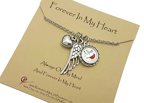 Memorial Necklace Personalized Cardinal, Forever In My Heart, Sympathy Gift Idea with Angel Wing