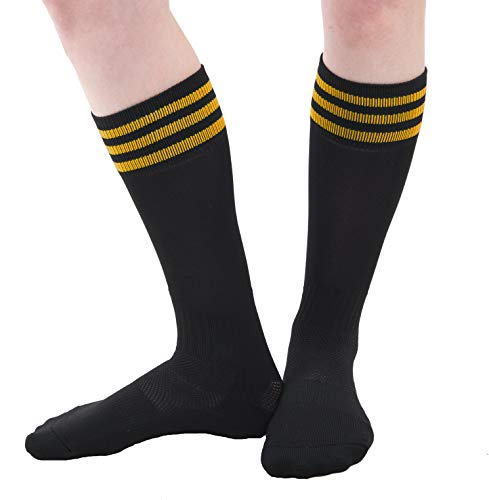 Woman & Youth Classic Knee-High Tube Socks for Sports, Costumes or Everyday Wear - 3PK Black/Gold -