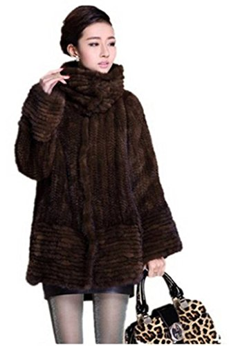 - YR Lover Women's Winter Long Sleeve Knitted Real Mink Fur Coat with Pocket