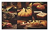 Lunarable Thanksgiving Doormat, Collage of Autumn Place Setting Fruit Plates Wine Candles Restaurant Dinner, Decorative Polyester Floor Mat with Non-Skid Backing, 30 W X 18 L inches, Brown Orange