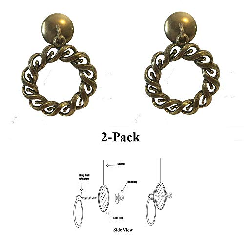 Shade Doctor of Maine - Designer Series Roller Shade Ring PULLS - Antique Brass Woven Rope 2-Pack