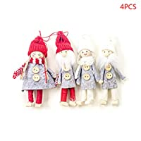 honuansortory 4pcs/Set New Year Noel Christmas Scarf Angel Santa Claus Plush Dolls Hanging Pendant Home Xmas Ornaments Kids Gift