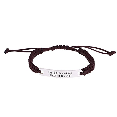 """Luvalti """"She Believed she Could so she did"""" Pendant Rope Bracelet - Family Motivational Jewelry Gift"""