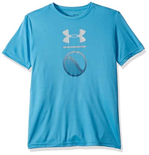 Under Armour Boys' Baseball Icon Short sleeve, Heather Blue//White, Youth Large
