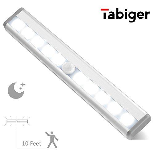 Tabiger 10 LED Motion Sensor Light Closet Light, Battery Powered LED Stick-Anywhere Night Light, Wall Light, Stair Light for Cabinet, Entrance, Hallway, Basement, Garage, Bathroom, Closet