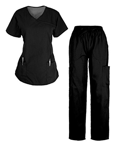 G Med Women's Y-Neck Scrub 2 Pockets Top - Egg Plant Ties