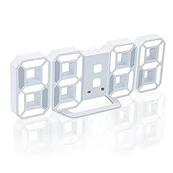 Modern Digital LED Wall Desktop Shelf Clock for Bedroom Home Office,Large 3D Decorative Alarm Clock with 3 Adjustable Brightness Levels USB Charging Port & Snooze (White Light)