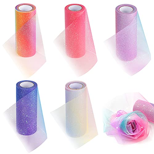 VGOODALL Rainbow Glitter Tulle Rolls, Shimmer Color Assortment Ribbon for Table Runner, Baby Shower Sash Bow Tutu Skirt Sewing Crafting Fabric Wedding Unicorn Christmas Party Gift Ribbon.