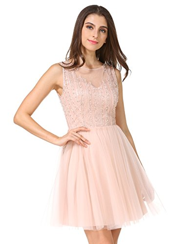 Women's Fashion Tulle Beaded Short Gowns Homecoming Prom Cocktail Party Mini Dress(XS, (Beaded Short Dress Cocktail Dress)