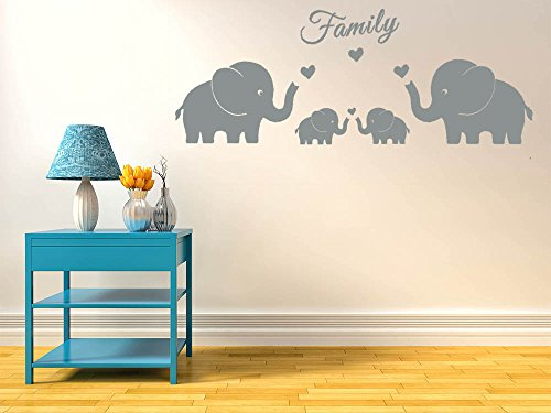 4 Cute Elephants Family Wall Decals Parents and Twins Elephant Wall Decal for Baby Nursery Love Heart Family Words Vinyl Wall Art Elephant Home Decor (Grey)
