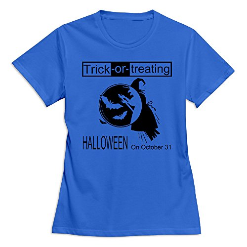 Women's Happy Halloween Day 100% Cotton O Neck T-Shirt RoyalBlue US Size XXL -
