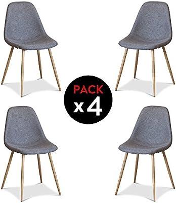 NKR - C009E0035 - Pack 4 sillas Comedor Modelo Níobe, Acabado en ...