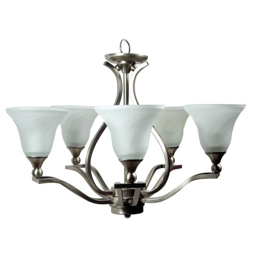 Yosemite Home Decor FL9935-5SN Sierra Collection Five-Light Fluorescent Chandelier, Frame with Frosted Swirl Glass, 27
