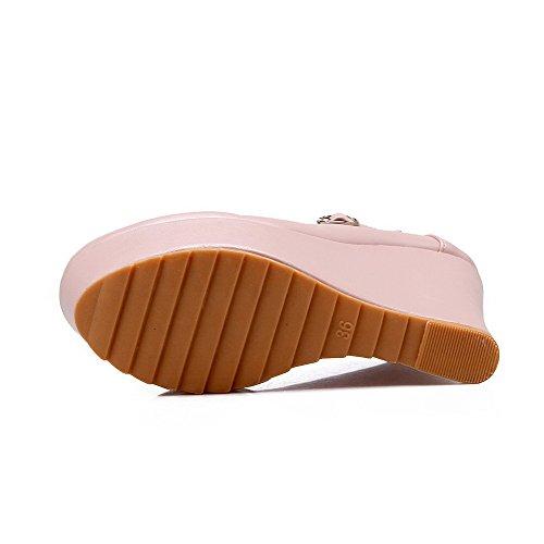 Amoonyfashion Alti Chiuso Fibbia Pompe Rotonda Donne Elaborazione Solida Delle Unità Tacchi Toe scarpe Rosa Di w1R1xqzF