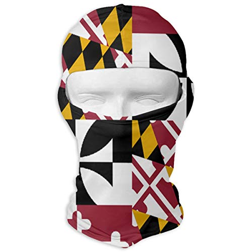 Game Life Maryland State Flag Outdoor Cycling Ski Balaclava Mask Sunscreen Hat Windproof Cap - White Maryland Helmet
