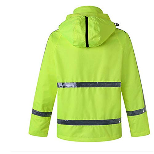 GSHWJS- trash can Waterproof Rain Jacket and Pants, Reflective Safety Raincoat Hooded Poncho Set, Green Reflective Vests (Size : XXXL) by GSHWJS- trash can (Image #2)