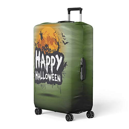 Pinbeam Luggage Cover Happy Halloween Night Sign Text Flying Moon Party Travel Suitcase Cover Protector Baggage Case Fits 18-22 -