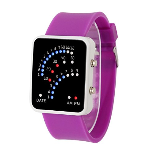 Hunputa Women Mens Futuristic Japanese Style Multicolor LED Sport Wrist Watch (Purple)