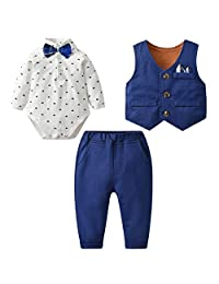 Kanodan Baby Boy Waistcoat Gentleman Suit Long Sleeve 3 Pieces Wedding Outfits