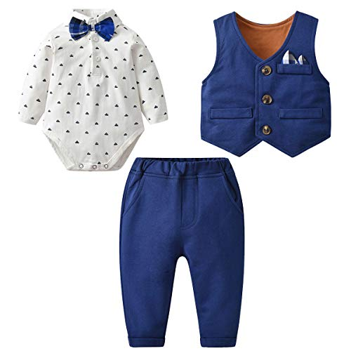 famuka Baby Boy 3 Piece Formal Outfit Suit with Bows Waistcoat Gentleman Tuxedo (Navy 3, 3-6 Months)