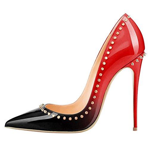 Arc-en-Ciel los zapatos de las mujeres de las bombas de tacón alto en punta del dedo del pie remaches gradiente de charol Negro Rojo